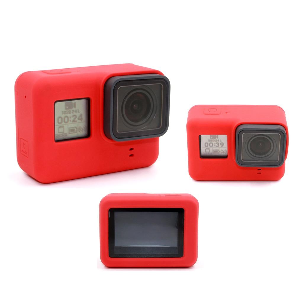 TELESIN funda de silicona roja funda de goma protectora para cámara funda protectora para GoPro Hero 5 Hero 6 7 Accesorios