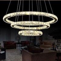 Crystal Diamond Ring LED Pendant Light Modern Foyer Hanging Lamp Dining Room Lighting