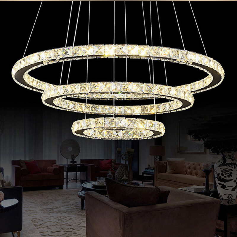 Crystal 20 30 40 Three Rings DIY LED Pendant Light Modern Foyer Hanging Lamp