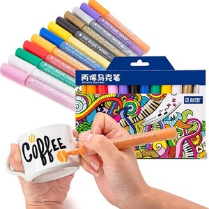 Image 1 - 12 24 צבעים/סט STA אקריליק צבע קבוע מרקר עט עבור קרמיקה רוק זכוכית פורצלן ספל עץ בד בד ציור