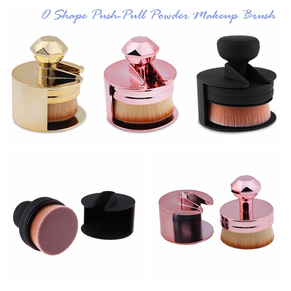1 PC Único Push-Pull Pincel de Maquiagem Portátil Forma O Selo da Make up Brushes Foundation Pó Blush Brush Pincel Maquiagem