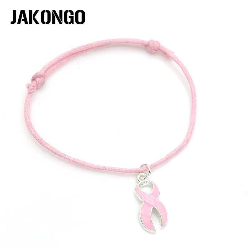 Image 2 - JAKONGO Hope Ribbon Breast Cancer Charm Pendant Bracelet Handmade Rope Adjustable Bracelet DIY  20pcs/lot-in Charm Bracelets from Jewelry & Accessories