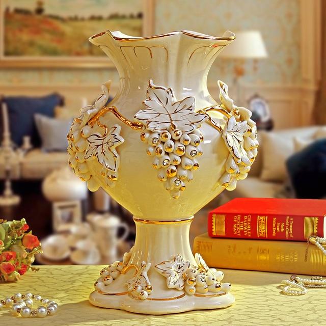 continental gilt flower vase ceramic countertop opening housewarming
