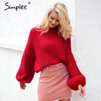 Simplee Winter Lantern Sleeve Knitted Cardigan Sweater Women Loose Round Neck Red Sweater Pullover Autumn Casual