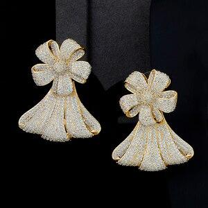 Image 3 - יוקרה גדול פרח שרשרת צמיד עגיל טבעת תכשיטי סטי מעוקב Zirconia לחתונה אירוסין יום נישואים ביצועים