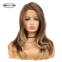 BCHR Brown Long Synthetic Lace Front Wigs With Natural Hairline Body Wave Lace Frontal Hair Wig For Women