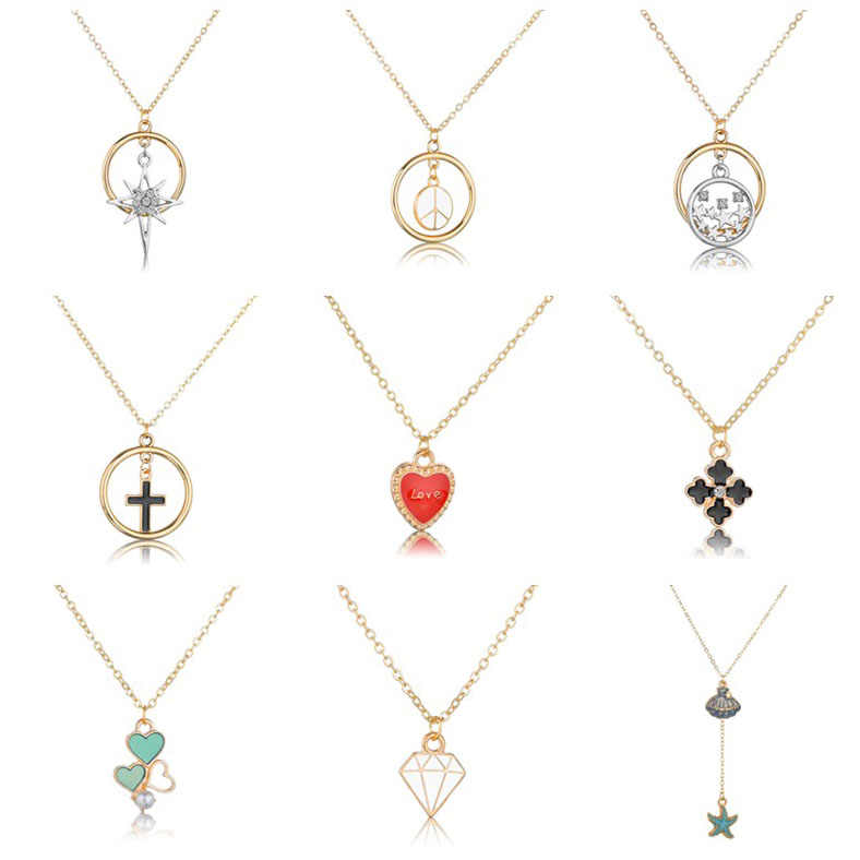 Fashion Metal Peace Symbol Round Necklace Female New Fashion Sea Summer Ocean Wind Necklace Jewelry Perfect Wedding Party Gift