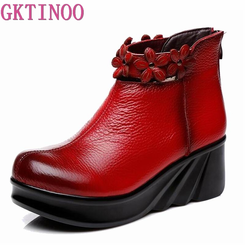 GKTINOO Boots Women Comfortable Autumn Genuine Leather Ankle Boots for Women Soft Martin Wedges Platform Shoes Ladies