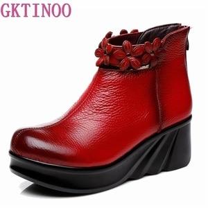 Image 2 - Gktinoo botas femininas confortáveis outono botas de tornozelo de couro genuíno para mulheres cunhas macias sapatos plataforma senhoras