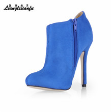 LLXF Stilettos Hollow out party shoes woman Ankle Martin Boots 12cm Thin Heels botas mujer wedding Flock pumps Plus:35-42 43