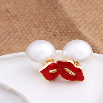GUVIVI Brand Fashion Double Side Earrings for Women Simulated pearl Red Lips Stud Earrings Beads Jewelry.jpg 350x350 - GUVIVI Brand Fashion Double Side Earrings for Women Simulated-pearl Red Lips Stud Earrings Beads Jewelry valentines day Gift