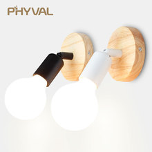 Светодиодный настенный светильник современная деревянная лампа Nordic чердак Стиль лампы промышленное винтажное железо настенный светильник для кафе освещение для дома, ресторана