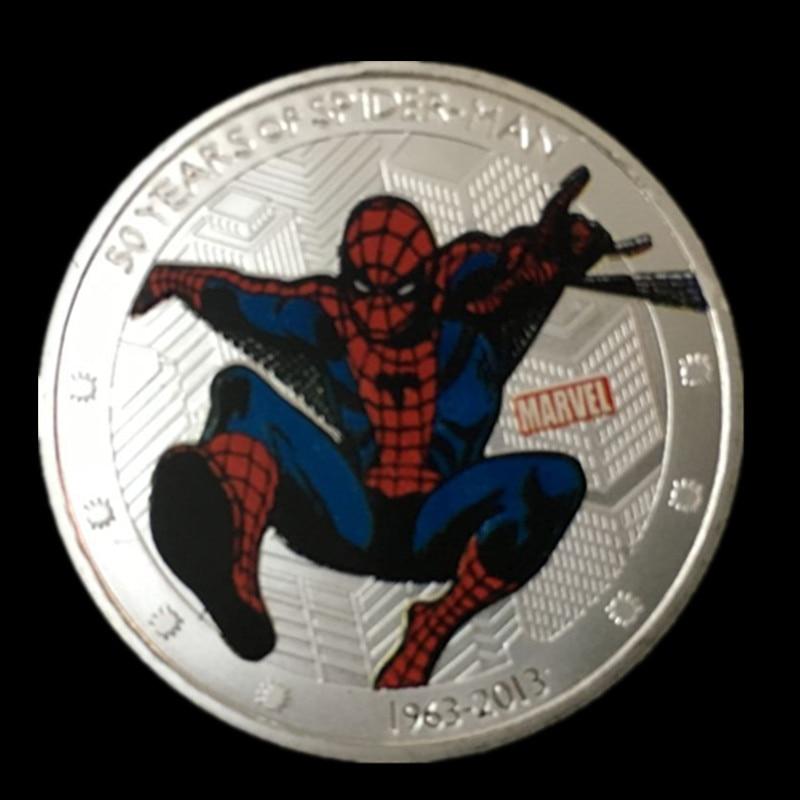 2 pcs/ 50 years anniversary of Hollywood <font><b>movie</b></font> <font><b>spiderman</b></font> Elizabeth <font><b>II</b></font> 2013 silver plated Canada spider man souvenir coin