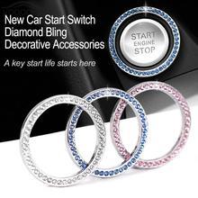 Car Styling Auto Start Switch Button Decorative Diamond Ring