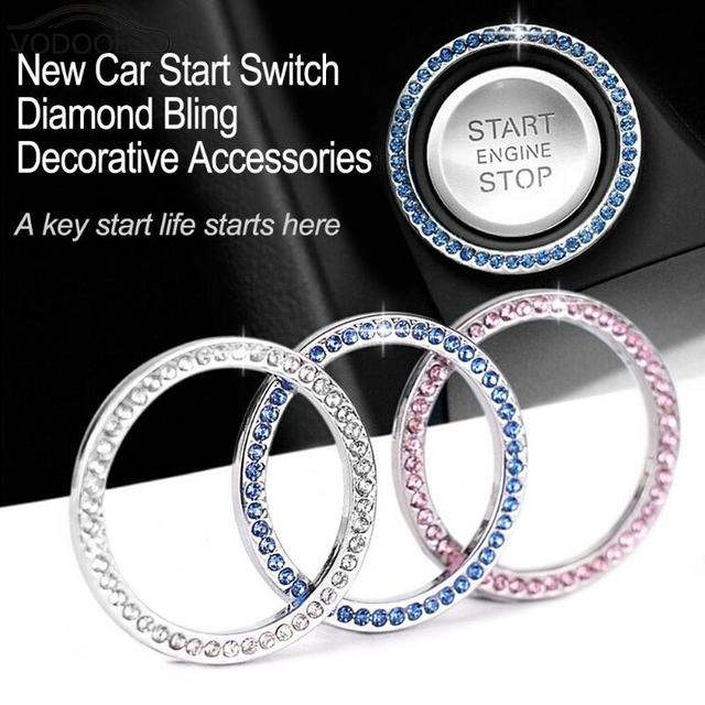 40mm/1.57″ Auto Car Bling Decorative Accessories Automobiles Start Switch Button Decorative Diamond Rhinestone Ring Circle Trim