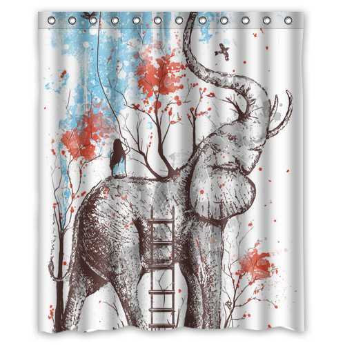 Unique Design Creative Aztec Elephant Tree Shower Curtain 60x72 Inches Fashion Clear Bathroom