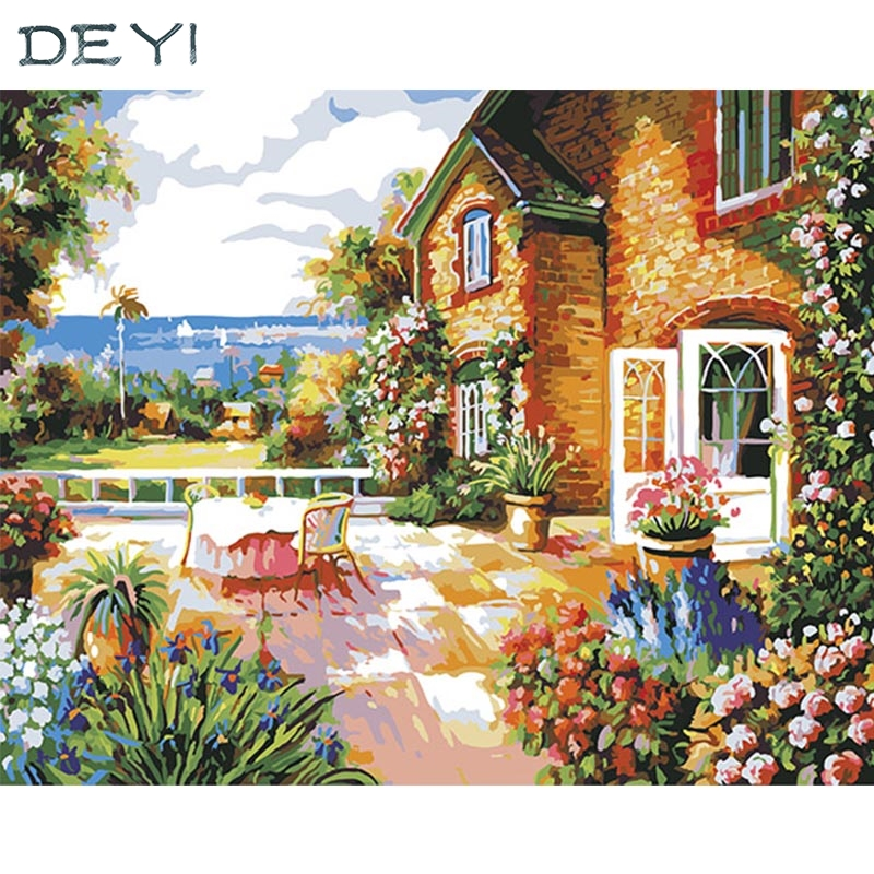DEYI 40*50cm Hand Oil Painting Milan Small Building Decorative Linen Painting Framed Mirrors Wall Art For Living Room 4050487