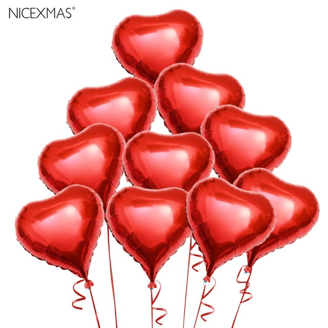 10pcs Red Heart Foil Helium Balloons With Ropes For Valentines Day Wedding  Engagement Decoration