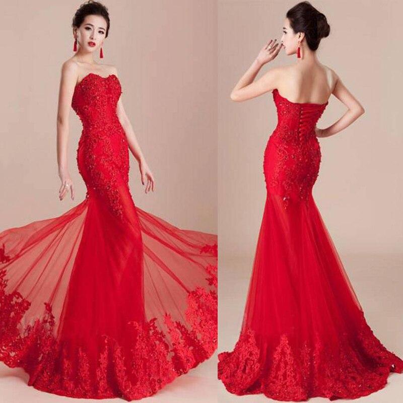 Red Lace Mermaid Wedding Dresses