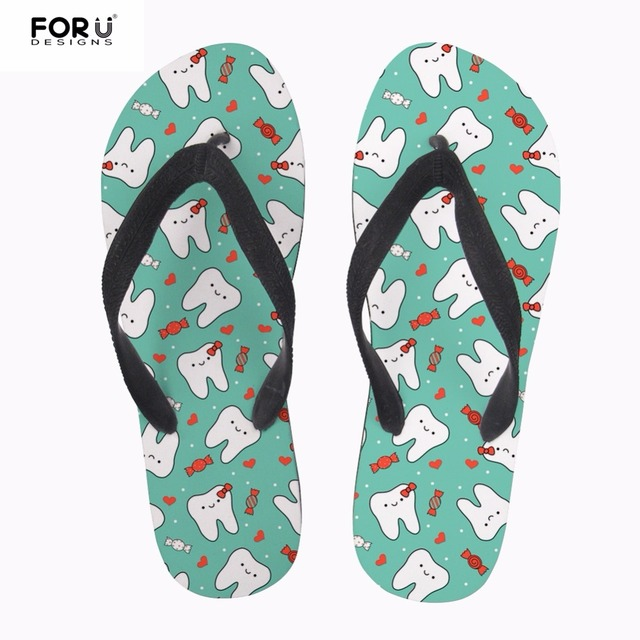 f8c46057036c FORUDESIGNS Dentista Women Flip Flops Cute 3D Cartoon Dentist Pattern Summer  Beach Women s Slippers Shoe Female House Flip Flops