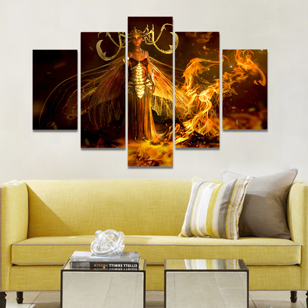 Unframed Canvas Art Painting Gothic Woman With Wings Flame Prints ...