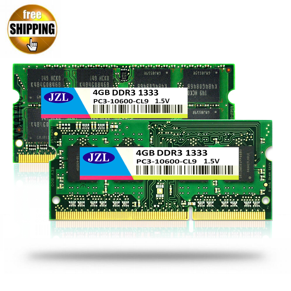 JZL DDR3 1333MHz PC3-10600 / PC3 10600 DDR 3 1333 MHz 4GB 204 PIN 1.5V CL9 SODIMM Memory Module Ram SDRAM for Laptop / Notebook gopole