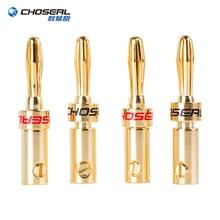 CHOSEAL 24K altın kaplama bakır muz hoparlör fiş konnektörü adaptörü ses muz konnektörleri hoparlör kablosu için amplifikatörler