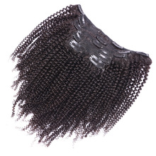 Brazilian Human Hair For African American Afro Kinky Curly Clip in Hair Extensions For Black Women 10 Pcs Natural Black #1B