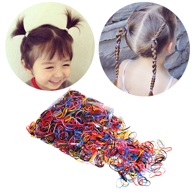 2000pcs Girls Hair Accessories Kid Braided Elastic Hair Band Ponytail Holders Black Candy Colors Gum For Hair Tie Rope Hairbands
