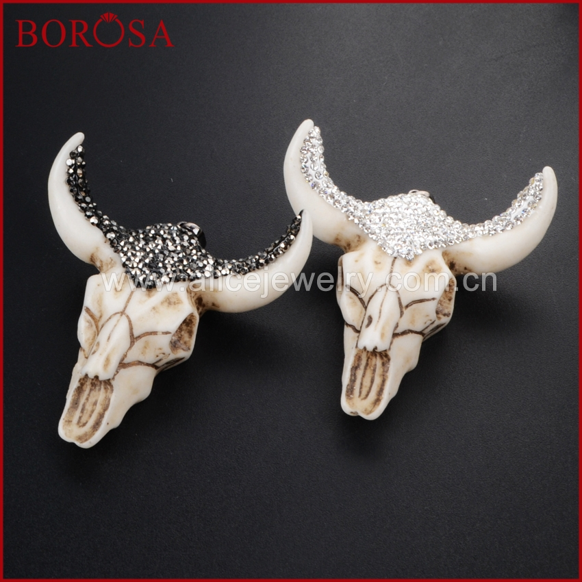 BOROSA Resin Horn Cattle <font><b>Longhorn</b></font> Bull Buffalo Pendant Crystal Rhinestone Pave Black/White Zircon Head Fashion Jewelry JAB337 image