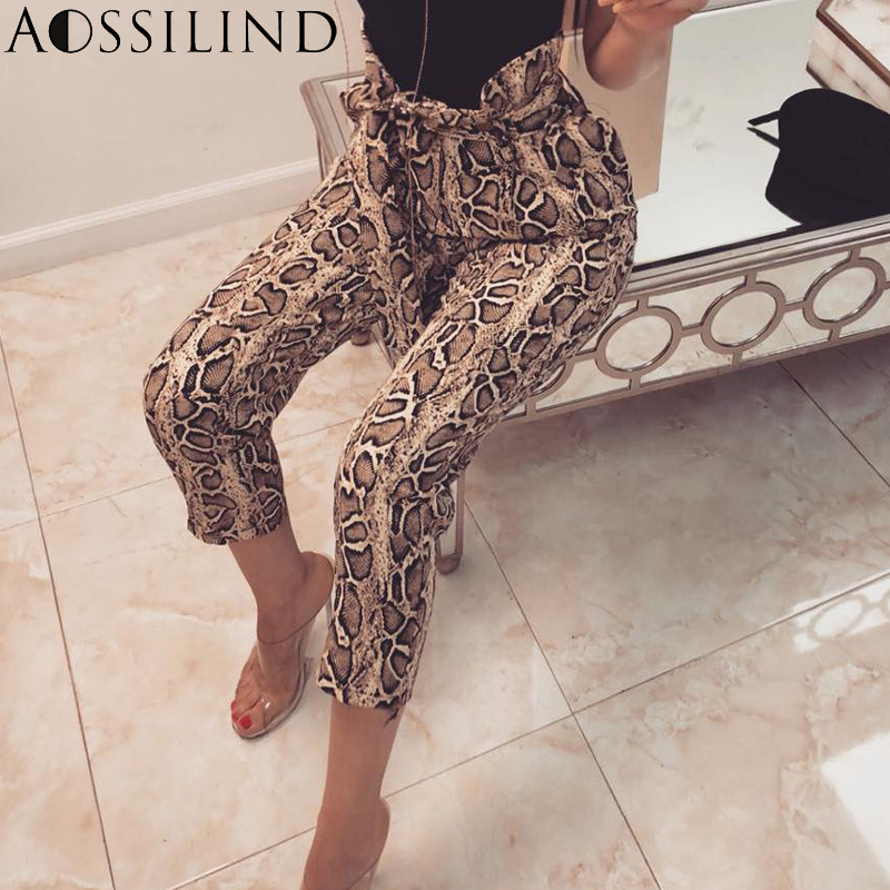 Bottoms Pants & Capris Aossilind Fashion Snake Print Belt High Waist Harem Pants Women 2019 Spring Summer Sashes Ankle Length Pant Casual Trousers New Varieties Are Introduced One After Another