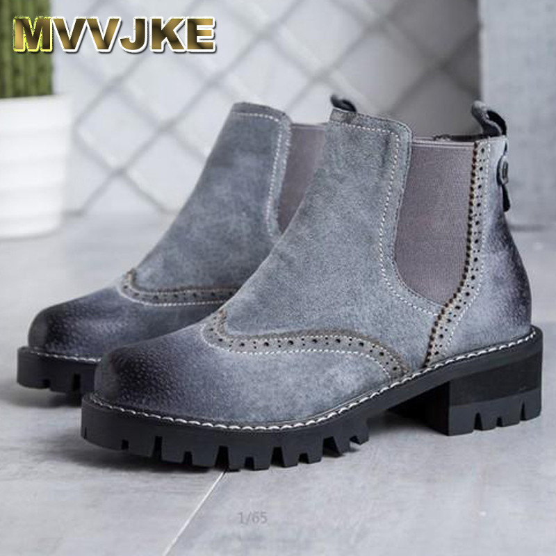 MVVJKE Autumn spring female ankle boots with cut outs square heels round toe platform pu soft leather women fashion boots mari sinila jalgpalluri naine luksuslik aasta itaalias