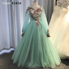 SuperKimJo Embroidery Applique Prom Dresses Long Sleeve Turquoise Blue Elegant Gown 2019 Vestido De Gala