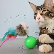 [MPK Store] Игрушка-неваляшка для кошки с пером, забавная игрушка для кошки милые мышки с перьями кожаный шар