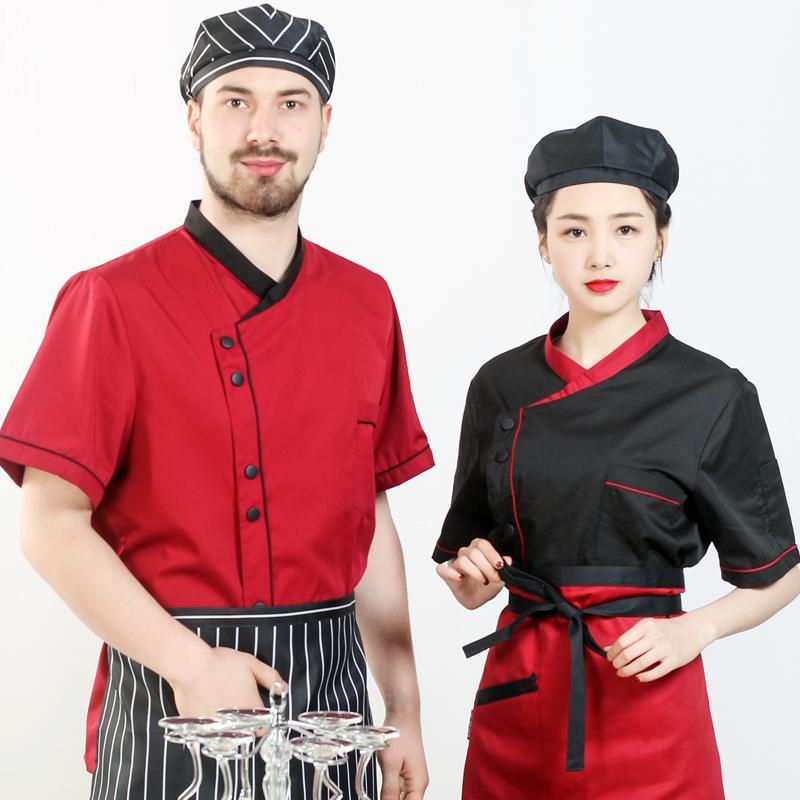 2017 Musim Panas Pendek Lengan Chef Seragam Dapur Cook Pakaian Pria Dan Wanita Hotel Restoran Workwear Ukuran Besar Mantel Partai Di Jaket