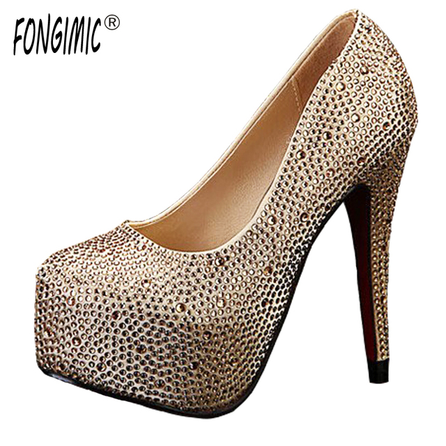 Top New High End Wedding Shoes With Red Heels Round Toe Fashion Bridesmaid
