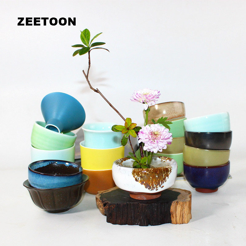 Zen Japanese Flower Coarse Pottery Vase Small Flowerpot