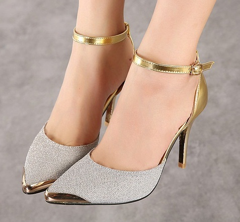 23ac23856566 Sexy Closed Toe Ankle Strap High Heels Women Strap Shoes Sandals Woman  Pointed Toe Pumps Cheap Golden Designer Strappy Stilettos-in Women s Pumps  from Shoes ...