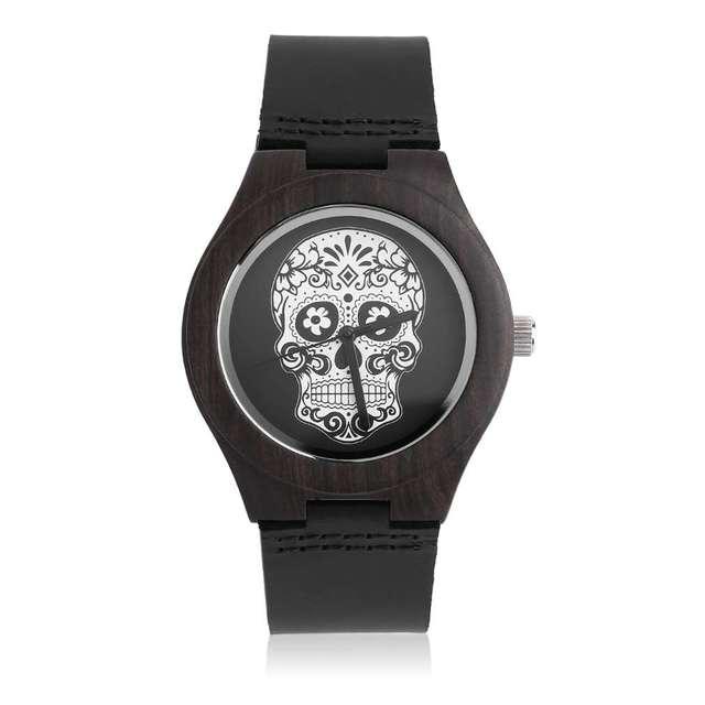 Cráneo de la vendimia Caja De Madera Negro Banda de Cuero Genuino Reloj de Lujo Hombre Mujer Amante relojes Relogio masculino feminino