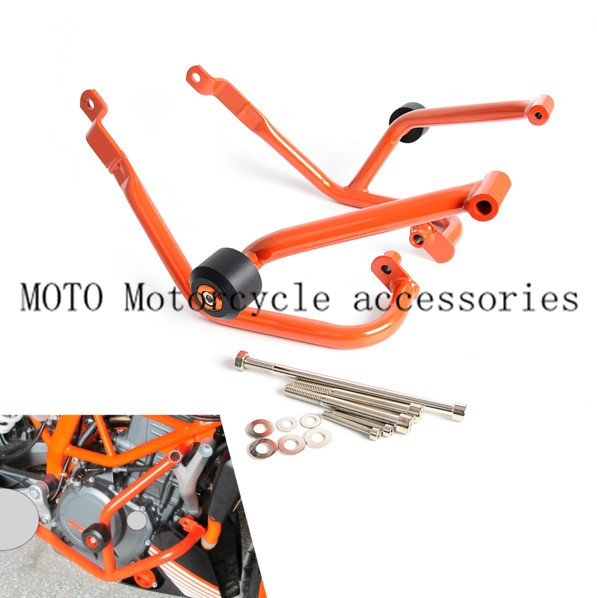 Motorcycle Crash Bar Frame Engine Protection Guard Bumper For KTM 390 Duke 2013 2014 2015 2016 Motorcycle Bumpers Orange for ktm 390 duke motorcycle leather pillon rear passenger seat orange color