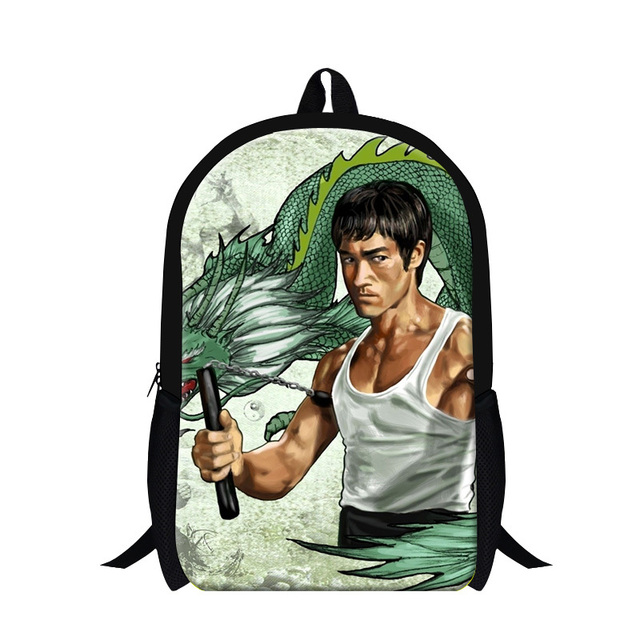 New Designer School Bags Cool Classic Bruce Lee Kung Fu Print Children  School Backpack Mens Travel f00006333cdb4