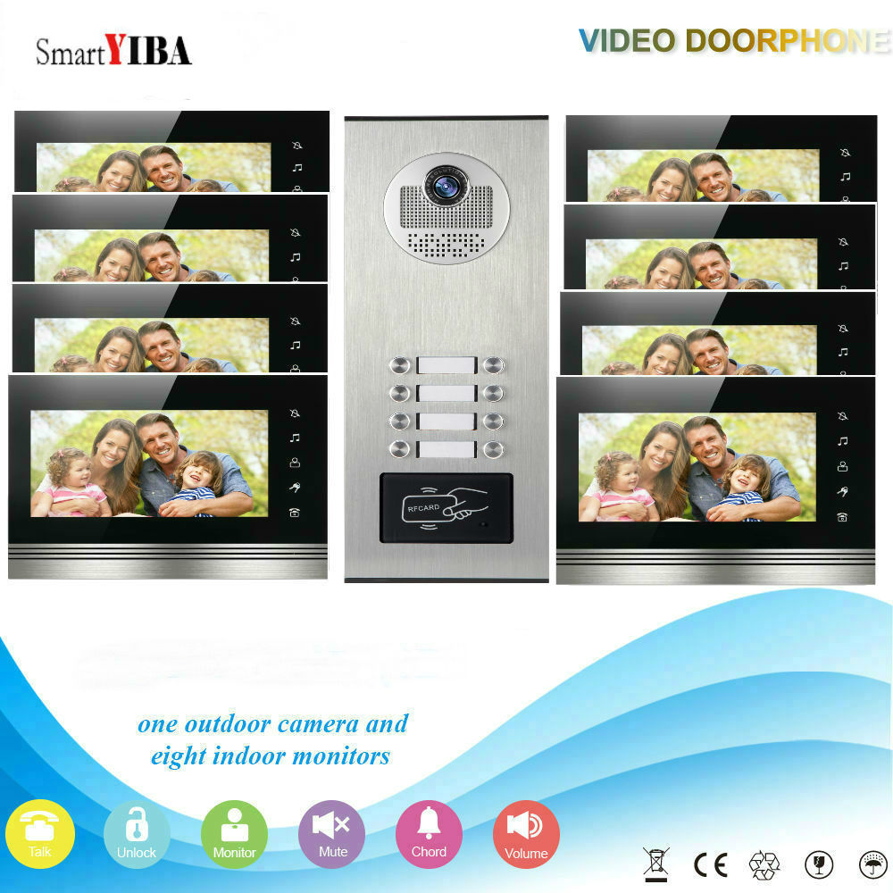 SmartYIBA Home Security 7Inch Monitor Video Door Phone Doorbell Intercom RFID Access Control Camera System For 8 Apartment
