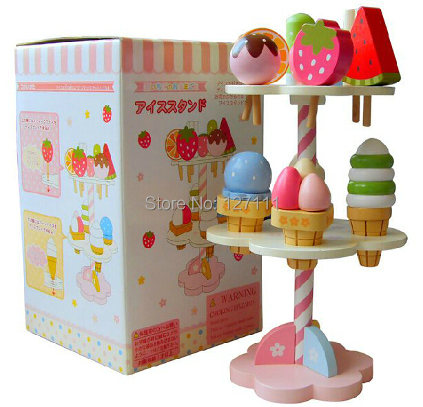 Garden Strawberry chocolate Ice cream 3 Layer sets / Wooden toys children play house kitchen toys set stylish round shape hollow out flower necklace for women