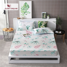 Slowdream 1PCS Bed Sheets On Elastic Band Rubber Sheet Double Mattress Cover Single Size Fitted Linen Nordic