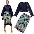 Отправить бесплатно 2015 весной и летом женские о-образным вырезом с длинными рукав короткий топ печати бюст юбки набор