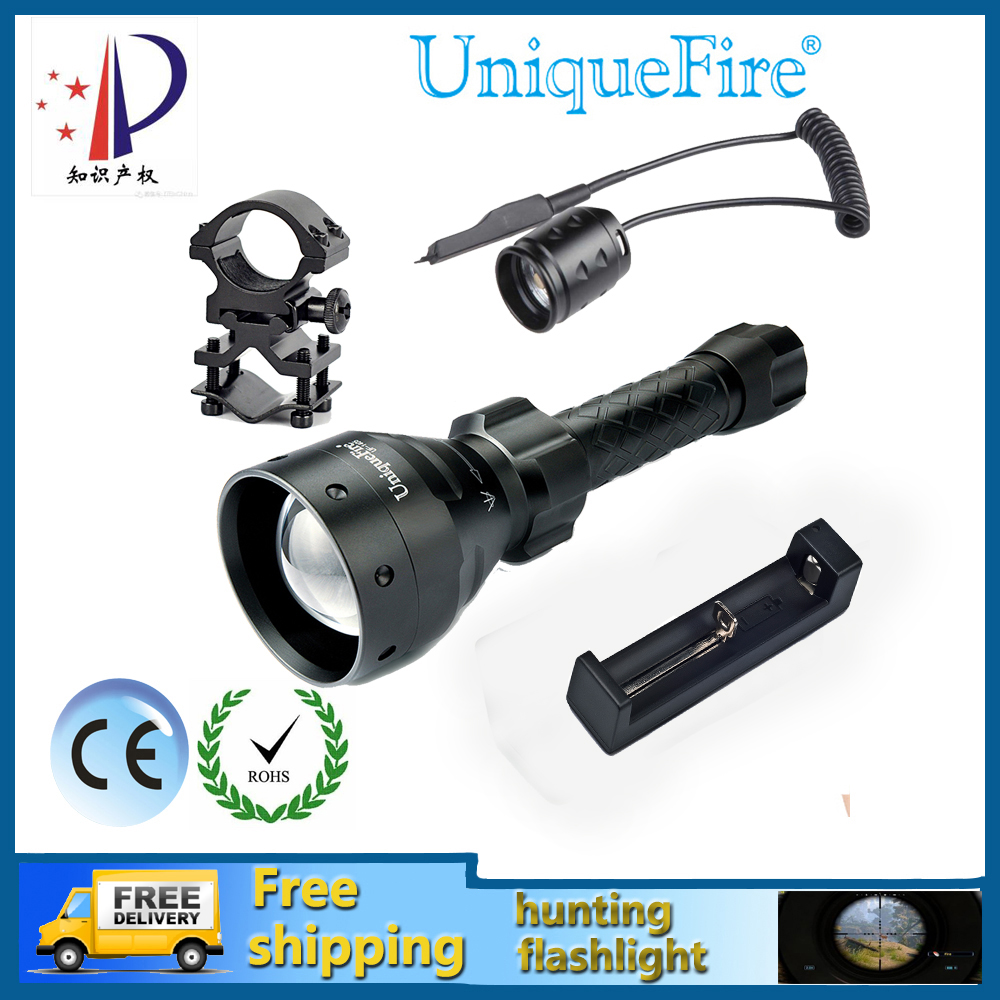 Uniquefire UF-1405-XP-G Waterproof Zoomable 3-Modes 3W Black LED Bulbs Tactical Flashlight+Rat Tail+Scope Mount+Charger uniquefire uf 1405 940nm ir led flashlight zoomable kit set 67mm convex lens 3 modes torch charger rat tail scope mount