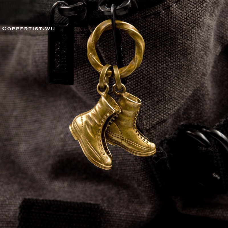 Coppertist. wu Винтаж бронза ботинки Форма брелок Сумки Подвеска Металл Брелки Брелок держатель ключ аксессуары