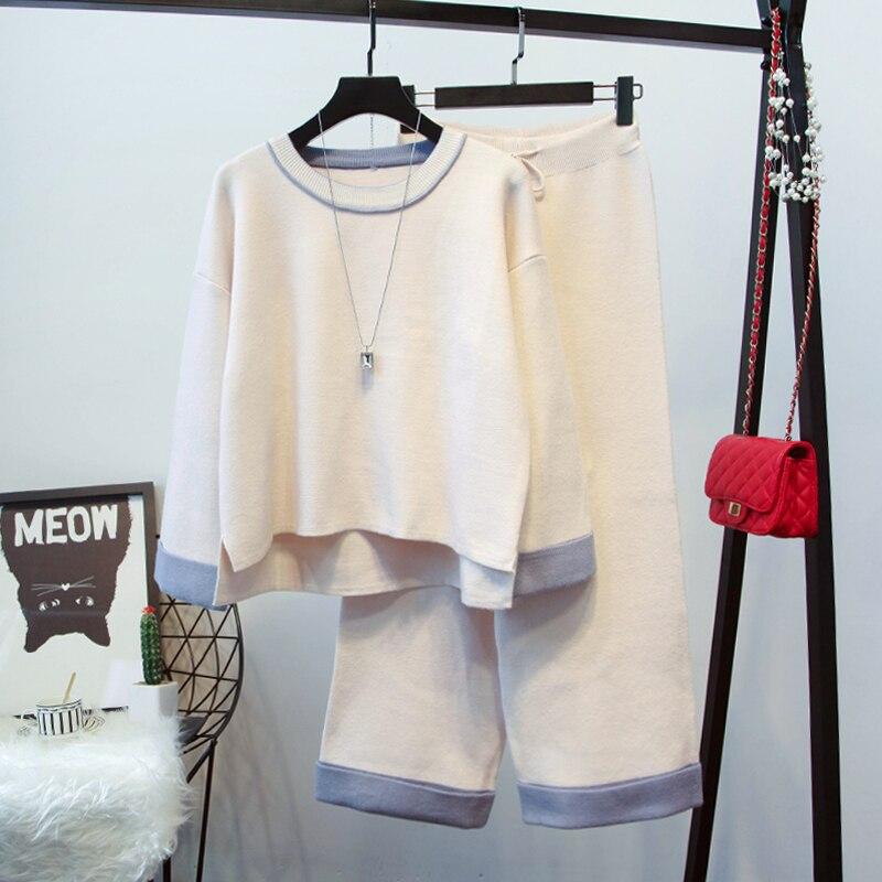 2018 Pantalon De Petit Large Femmes Version Lâche Automne Pièce beige Jambe Costume Dames Chandail Nouvelle camel Parfum Coréenne Les Black Deux 6gwxr6I