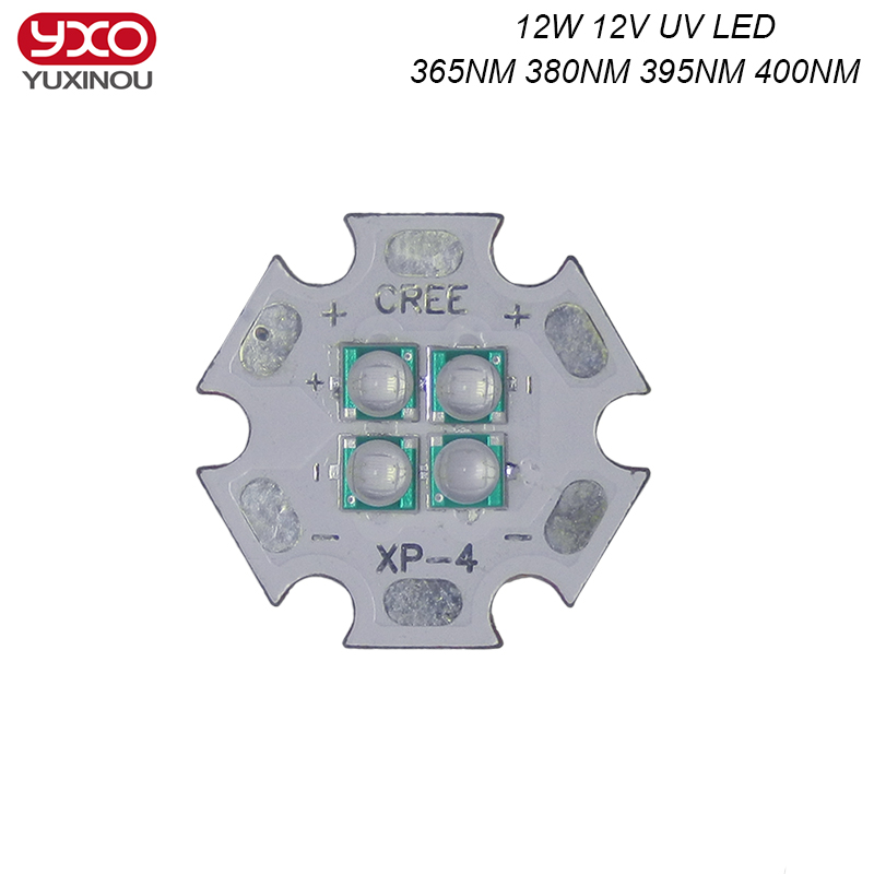 1pcs 12V 14V 10W 12W Ultra Violet UV 365nm 380nm 395nm High Power Led Emitting Diode on 20mm Cooper Star PCB 10w 12w ultra violet uv 365nm 380nm 395nm high power led emitting diode on 20mm cooper star pcb