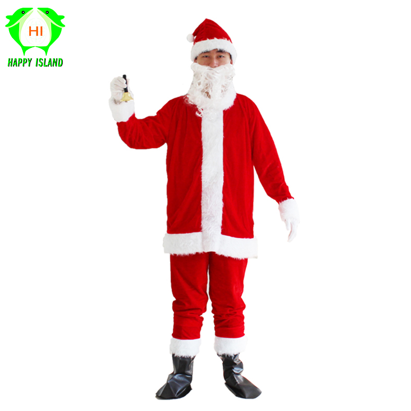 Adult Set Santa Claus Costume With Bell For Women Men Suit Red Christmas Cosplay Costumes for Christmas Party New Year Festival